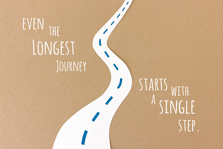 Even the longest journey starts with a single step - paper-cut illustration by Marie Maerz